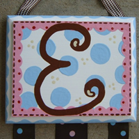 The Pink Scallop with Brown Monogram and Sky Blue Dots...click to enlarge