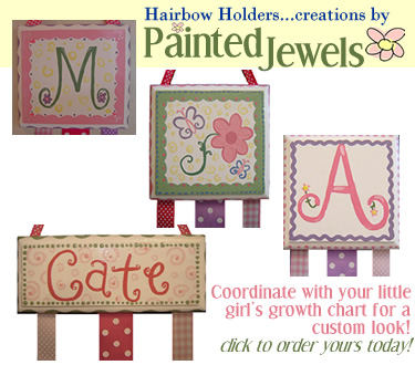 Click to order your custom hairbow holder to coordinate with your growth chart!
