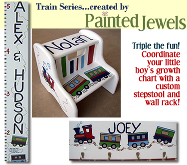 click for information on the Painted Jewels Train Series Stepstool and Wall Rack!