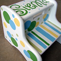 Polka Dot Stripe Themed Stepstools from Painted Jewels ... click to enlarge